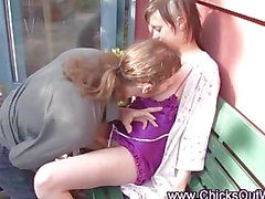 Horny real couple outdoor oral