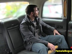 Busty brit cabbie pussy railed on backseat