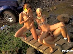 Morgan and Boroka Screw One Lucky Man out by the Bubbling Brook