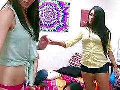 Sorority lesbians playing sex games using a sybian