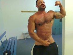 Rogan Richards Muscle Workout, Flexing, Jerking & Cum