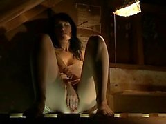 Ravishing brunette with long legs finds a place to satisfy