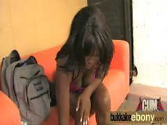 Hot ebony chick in interracial gangbang 8