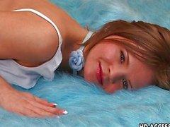 Kinky slut Mona masturbating on her bed