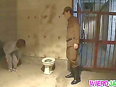Gorgeous MILF Stripped By An Officer And Sucks Him Off