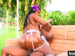 Oiled ebony babe gets drilled hard