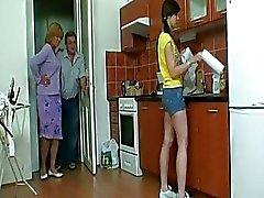 Slutty teen babe seduces this older couple