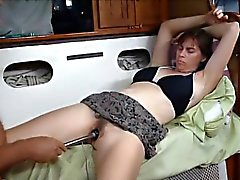Her cum is made by him having a vibrator that is makeshift