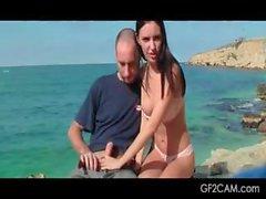 Brunette girlfriend showing her BJ skills on camera