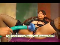 Maria Ozawa Asian doll has sexy stockings on while she gets fondled her pussy
