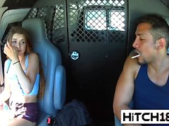 Teen Alex Mae Fucked In Van Hitchhiker Blowjob