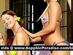 Naughty brunette and blonde lesbos kissing and getting