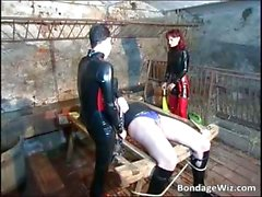 Filthy latex babe torture dude in kinky part3