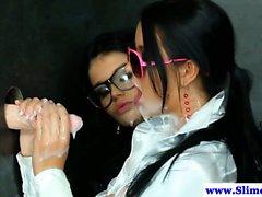 Bukkake lesbians at gloryhole facials and cumshots