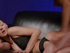 Horny brunette smoking penis of rubber