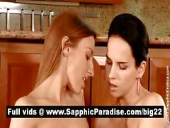 Adorable brunette and blonde lesbias kissing and getting naked and having lesbian sex