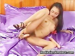 Petite asian babe strips and dildo part4