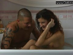 Sexy brunette virgin Koromislo with Thomas Stone