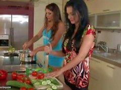 Adorable Aleta Ocean gets licked by zafira in the kitchen