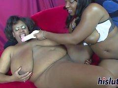 Two ebony BBWs pleasure their wet pussies