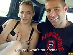 Horny couple pounding in the backseat on tape