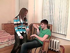 Cute awesome teen gal rides knob of guy