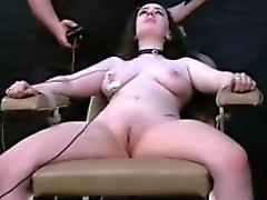 Electro tortured bbw in harsh stool bondage
