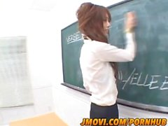 Rika Sakurai hot Asian babe in a mini skirt gives stellar blowjob
