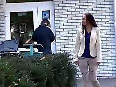 Curvy babe lifts up skirt and pisses in public