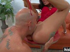 Brunette hottie craves for a big cock