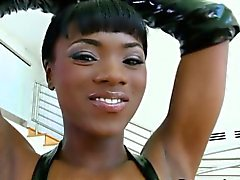 Ebony booty in leather gets a big facial