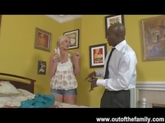 New Black Stepdad Punishes Blonde Daughter for Being Late