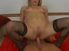Deep anal for blonde in stockings