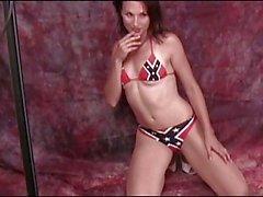 Hottie models her pantyhose and bikini