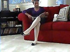 Ebony white pantyhose dangle