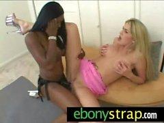 Hot interracial lesbian strapon fuck 12