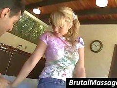 Long-haired blonde chick gets her ass massaged by a dirty masseur