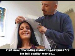 Amazing brunette bride doing blowjob