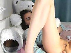High School Girl Playing Around With Her Teddybear...