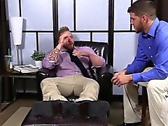 Hairy Aaron wanking his dick as Marshall is sucking his toes