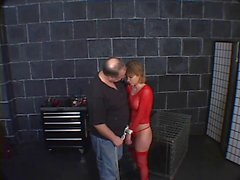 Masters hot pet, in red fishnets, spanked