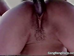 Great video of amateur gang bang with hot blonde bitch
