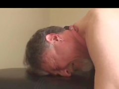 Chastity slave prostate milked while locked up with e-stim