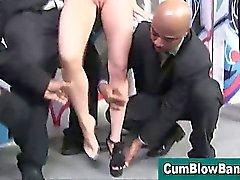 Blonde loves sucking big cocks