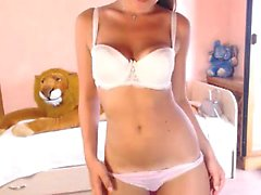 Stunning European chick done a horny webcam show