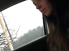 Skinny amateur teen Gina Devine fucked in the car