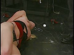 Bondaged blonde hottie swings from ceiling and displays her open pussy