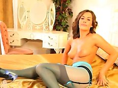 Blue nylons and attractive pantyhose