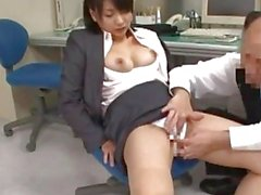 Office Lady Fingered Giving Blowjob On The Chair In The Office