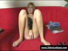 Zebra filles - ébène lesbiennes sexy baise filles blanches avec des sangle sur de 16